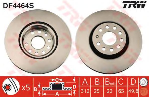 DF4464S Диск тормозной AUDI A3/VW GOLF V/VI/PASSAT/TIGUAN передний вент.D=312мм.