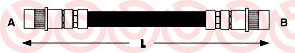 T61018 Шланг тормозной PEUGEOT 405 206мм задний (барабан.торм.)