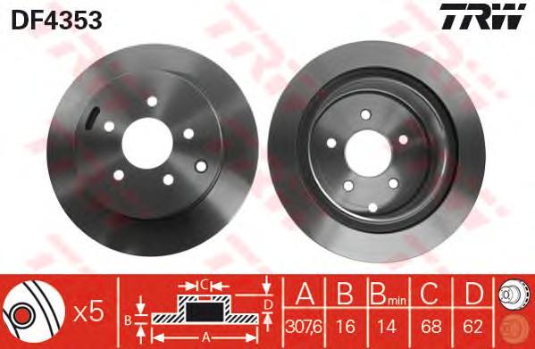 DF4353 Диск тормозной NISSAN MURANO/INFINITI FX35/FX45 05- задний