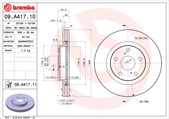 09A41711 Диск тормозной TOYOTA CAMRY (V40) 06-11/RAV 4 05- передний вент.D=296мм.