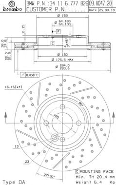 09A04721 Диск тормозной MINI COOPER 06- передний (спорт.пакет) D=294мм.