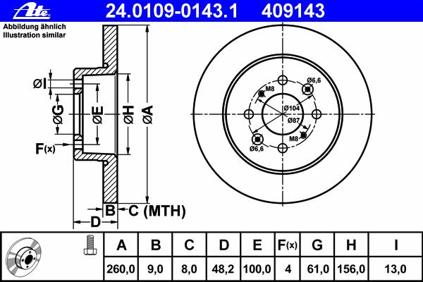 24010901431 Диск тормозной задн, HONDA: CIVIC VI Aerodeck 1.4 16V/1.5 16V/1.6 16V 98-01, CIVIC VI Fastback 1.4 i/1.6 94-01, CIVI