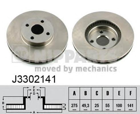 J3302141 Диск тормозной TOYOTA COROLLA Verso 02-04 передний