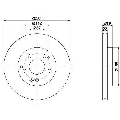 8DD355100941 Диск тормозной MERCEDES W201 2.3/2.5/W124 200-300 передний D=284мм.