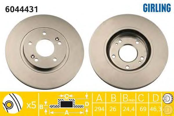 6044431 Диск тормозной HYUNDAI SANTA FE (SM) 2.0-2.7 01- передний вент.D=294мм.