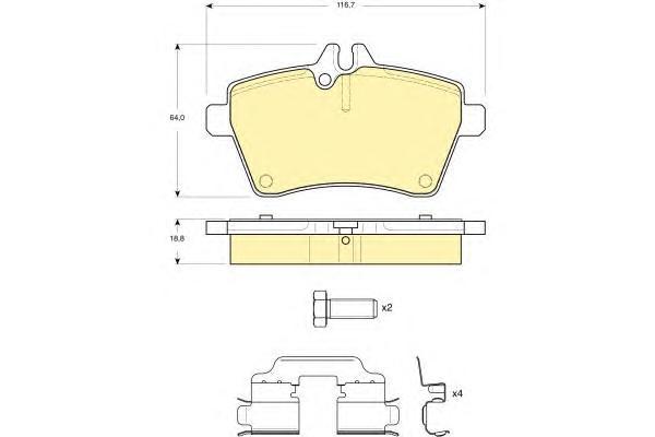 6116291 Колодки тормозные MERCEDES A-CLASS W169/B-CLASS W245 1.5-2.0 04- передние
