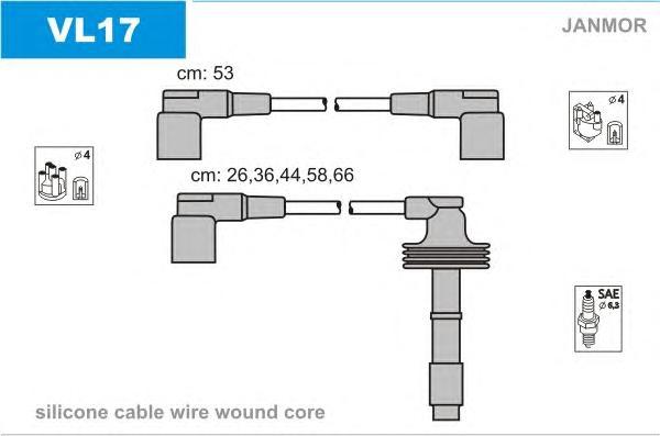 VL17 Комплект проводов зажигания RENAULT: SAFRANE II 96-00, VOLVO: 850 91-97, 850 Wagon 92-97, 850 универсал 92-97, C70 I кабрио