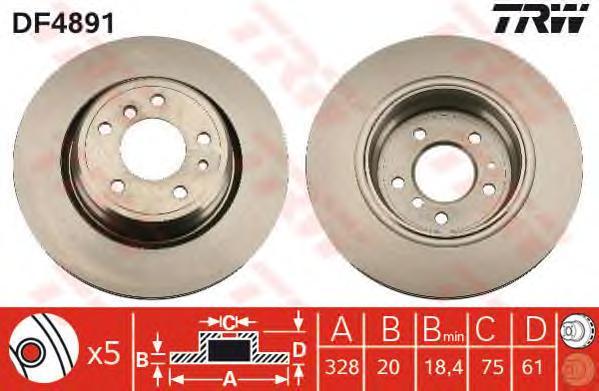 DF4891 Диск тормозной BMW 7 E38 740-750 94-01 задний вент.D=328мм.