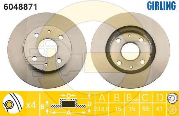 6048871 Диск тормозной DAIHATSU SIRION 98- передний вент.D=234мм.