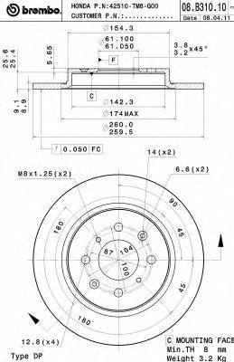 08B31010 Диск тормозной HONDA: INSIGHT 1.3 Hybrid 09-, JAZZ III 1.3 HYBRID 08-