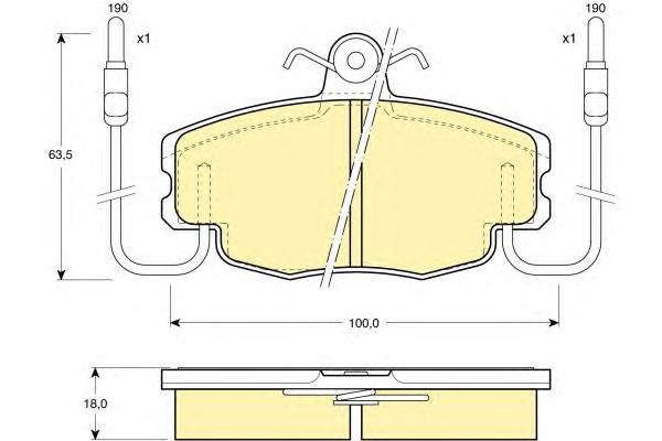 6108071 Колодки тормозные RENAULT LOGAN 04-/SANDERO 08-/CLIO 91- передние с датчиком