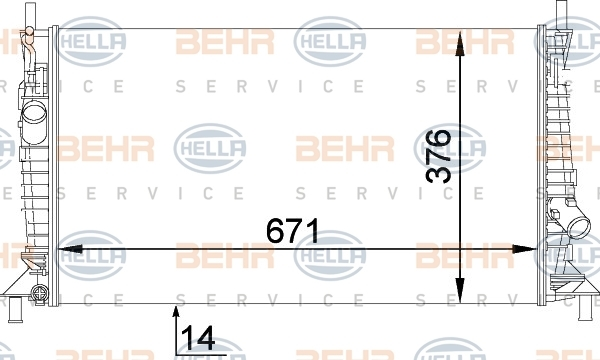 8MK376764281 Радиатор FORD FOCUS 1.4-2.0/2.0TD 04-