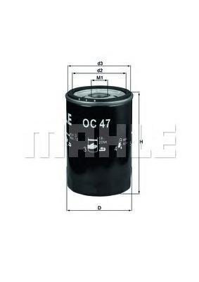 OC47OF Фильтр масляный AUDI 80/100/VW G2/G3/PASSAT 1.6/1.8/2.0/2.3 (без упак.)