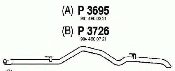 P3695 Трубопровод выпускной MB SPRINTER 2.3 95-06