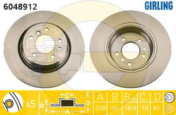 6048912 Диск тормозной BMW 7 E38 740-750 94-01 задний вент.D=328мм.
