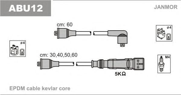 ABU12 Комплект проводов зажигания SEAT: CORDOBA 93-99, IBIZA II 93-99, TOLEDO I 91-99, VW: CADDY I 82-92, GOLF I Cabriolet 79-93