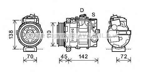 msak615 Компрессор кондиционера MB: C-CLASS (W203) 2.0 01-