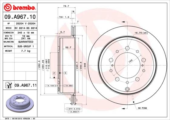 09A96711 Диск тормозной TOYOTA LAND CRUISER J200 4.5D/4.7 07-/LEXUS LX570 08- задний