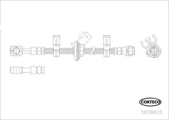 19036623 Шланг тормоз. Fr 552 мм MB ML W163 98-05