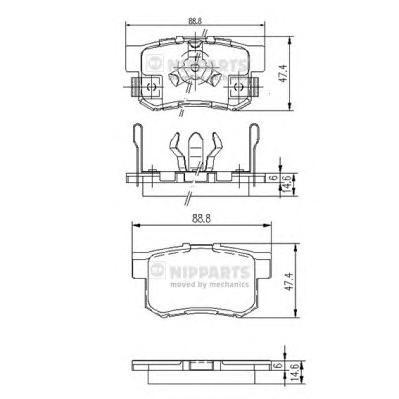 J3614017 Колодки тормозные HONDA ACCORD 2.0-2.4 АКПП 08-/CR-V II 02-06/FR-V 05- задние