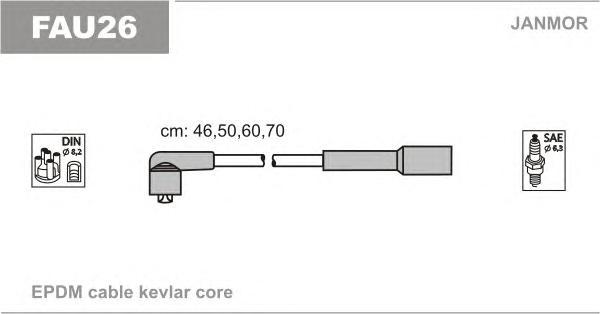 FAU26 Комплект проводов зажигания FIAT: PUNTO 60, TIPO 93-, LANCIA: DELTA, Y 93-96, 99-