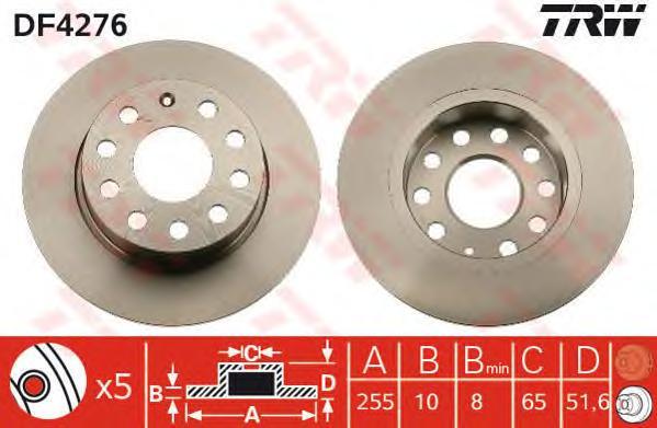 DF4276 Диск тормозной AUDI A3 03-/SKODA OCTAVIA/YETI/VW CADDY/GOLF 03- задний