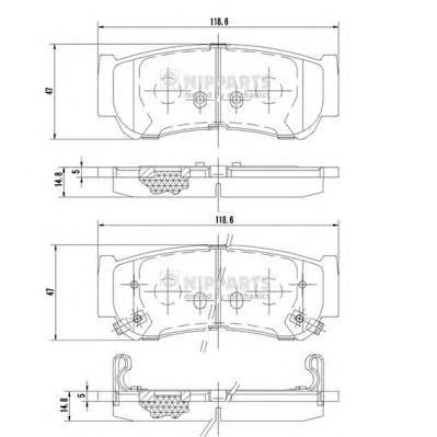 J3610517 Колодки тормозные HYUNDAI H-1 01-/SANTA FE (CM)/(SM) 05- задние