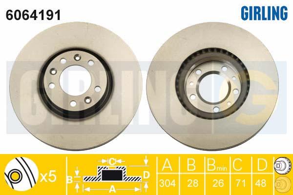 6064191 Диск тормозной CITROEN C4 Picasso 13-/PEUGEOT 308 13-/508 11- передний D=304мм.