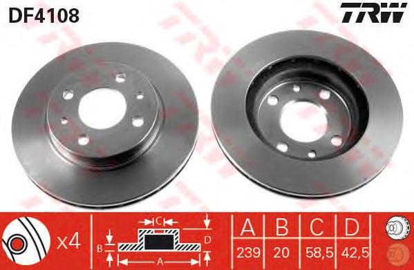DF4108 Диск тормозной LADA 2110/2111/2112 передний вент. D=239мм.