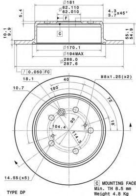 08A15010 Диск тормозной LEXUS RX300 V6 00-03 задний