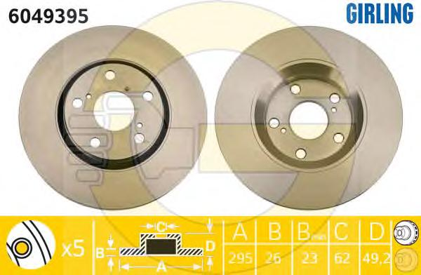 6049395 Диск тормозной TOYOTA AURIS 07-/AVENSIS/VERSO 09- передний вент.D=295мм.