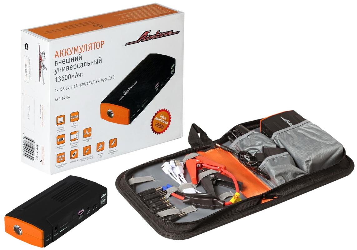 APB1404 Аккумулятор внешний универсальный 13600мАч:1хUSB 5V 2.1A 12V/16V/19V пуск ДВС