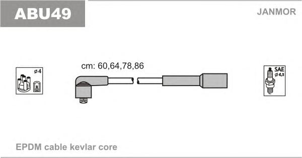 ABU49 Комплект проводов зажигания SKODA: SUPERB 02-, VW: NEW BEETLE 98-, PASSAT VARIANT 00-05