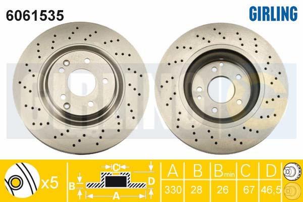 6061535 Диск тормозной MERCEDES W203 1.8-3.5 00- передний вент.