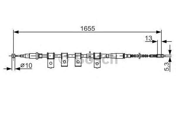 1987477920 Трос ручного тормоза DAEWOO LANOS 1665мм