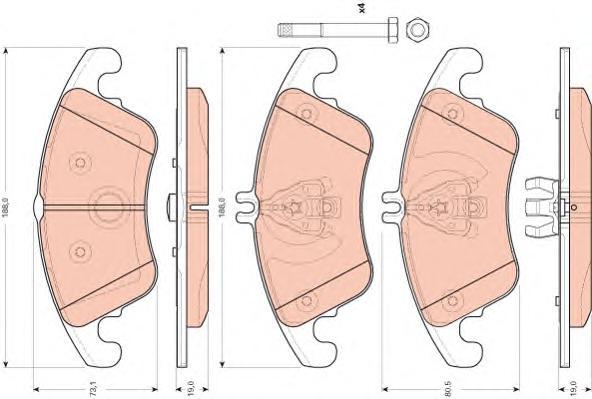GDB1737 Колодки тормозные MERCEDES W204/W212 (спорт) передние