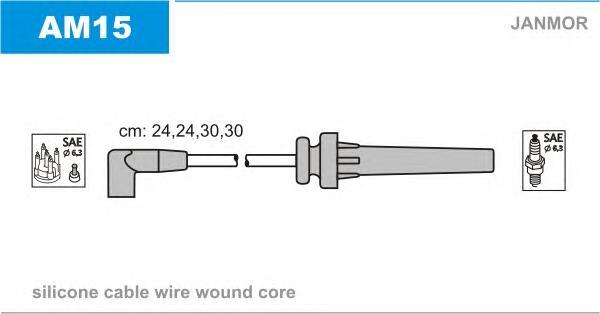AM15 Комплект проводов зажигания CHRYSLER: CIRRUS 2.4 16V 94-00  DODGE: AVANGER 2.0 95-98  MITSUBISHI: USA ECLIPSE 2.0 97-