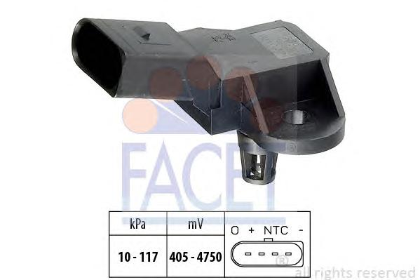 103090 Датчик давления воздуха AUDI: A3 (8P1) 1.6 FSI 03-, A3 Sportback (8PA) 1.6 FSI 04-, A4 (8EC) 3.2 FSI/3.2 FSI quattro 04-,