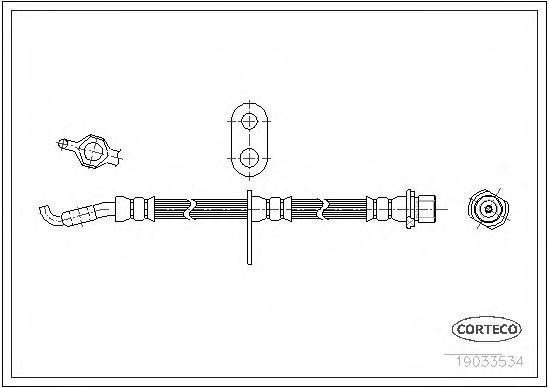 19033534 Шланг тормозной LEXUS: RX 3.3 AWD/300/350 AWD/400h/400h AWD 03-08