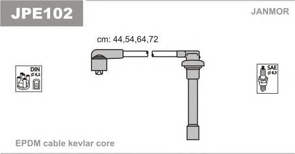 JPE102 Комплект проводов зажигания HONDA: CIVIC IV 91-95, CIVIC IV КУПЕ 94-95, CIVIC V 95-01, CIVIC V FASTBACK 97-01, CIVIC V HA