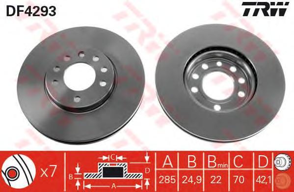 DF4293 Диск тормозной OPEL SIGNUM 03-/VECTRA 02-/SAAB 9-3 02- передний вент.