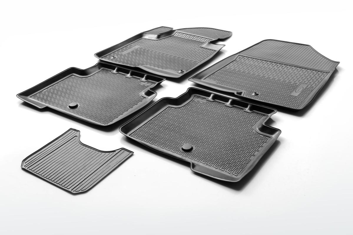 0014001002 Комплект автомобильных ковриков Mitsubishi ASX 2012- , полиуретан, низкий борт, 5 предметов, крепеж для передних ковр