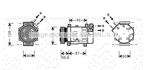CNAK238 Компрессор кондиционера CITROEN: BERLINGO (MF) 1.6 HDI 110 96-, C5 (DC) 1.8 16V (DC6FZB, DC6FZE)/2.0 16V (DCRFNC, DCRFNF