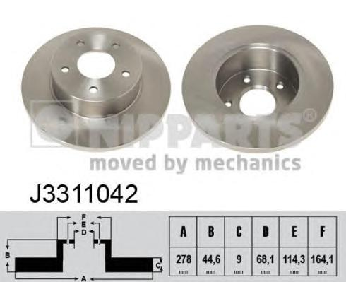 J3311042 Диск тормозной NISSAN MAXIMA QX 95- задний D=278мм.