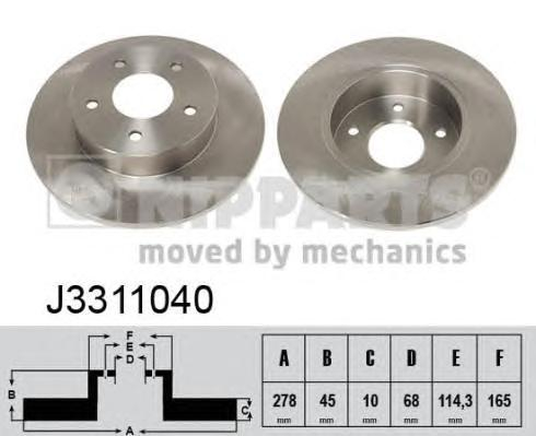 J3311040 Диск тормозной NISSAN PRIMERA (P12) 1.6-2.2D 02- задний