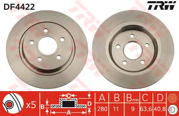 DF4422 Диск тормозной FORD FOCUS 04-/08-/VOLVO C30/C70 задний