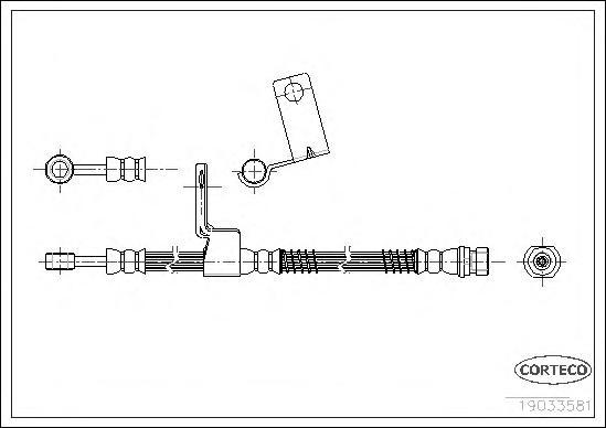 19033581 Шланг тормозной HYUNDAI: GETZ 1.1/1.3/1.3 i/1.4 i/1.5 CRDi/1.5 CRDi GLS/1.6 02-09
