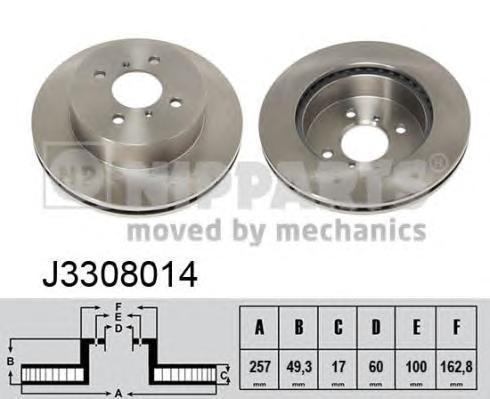 J3308014 Диск тормозной SUZUKI IGNIS 1.3-1.5 00- передний