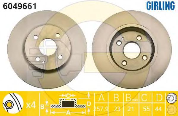 6049661 Диск тормозной MAZDA 2 07- передний вент.D=258мм. d=55mm