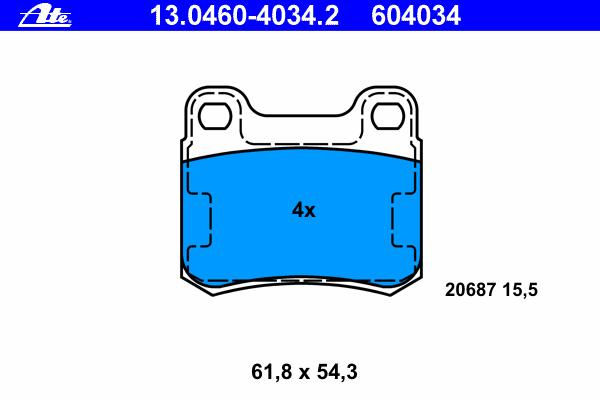 13046040342 Колодки тормозные дисковые задн, MERCEDES-BENZ: 190 E 2.3-16/E 2.3-16/E 2.5-16 82-93, C-CLASS C 180/C 200/C 200 D/C